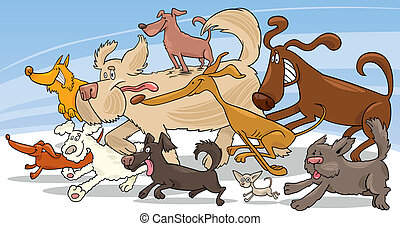Illustration of group of running dogs