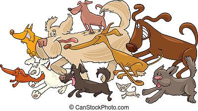 running dogs - Cartoon illustration of running dogs