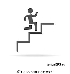 Running down the stairs man outline icon black color