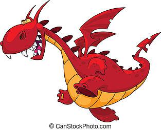 illustration of a running red dragon