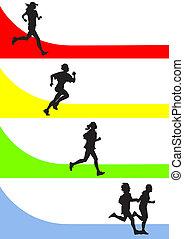 running - vector drawing running a marathon women's sports