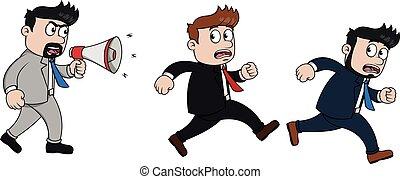 Running employee because angry boss
