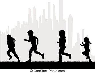 running., enfants, vecteur, silhouettes, silhouette.