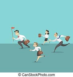 running., equipe affaires