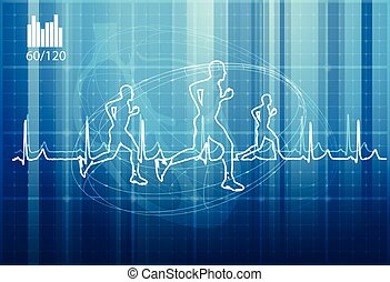 Running Excercise with Heartbeat Waveform Background - Illustration