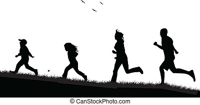 Running  family - black silhouettes of people