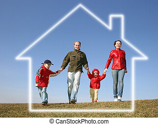 running family of four in dream house