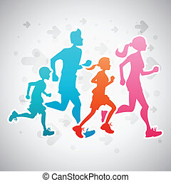 Running Family - Vector illustration of a family running...