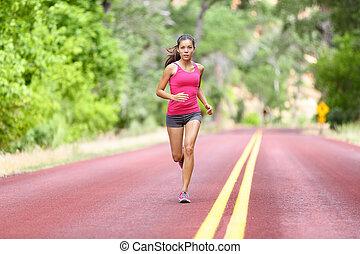 Running fit woman - female runner training