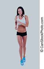 Running fitness woman isolated.