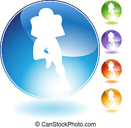 Running Football Crystal Icon