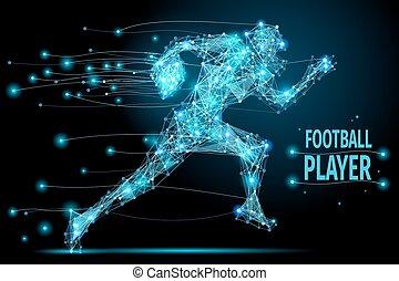 Running footballer polygonal - Abstract running footballer...