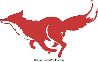Stylized icon of a fox in motion running
