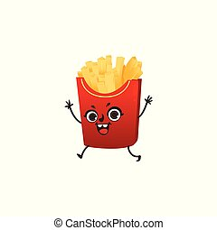 French fries character with happy human face