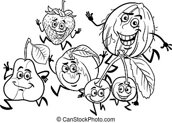 running fruits group coloring page