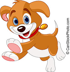 Running funny puppy - Illustration of the cute fun puppy ...