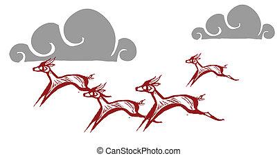 Running Gazelles #4 - Gazelles running on an african plain.