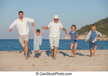 Running Generations Grandfather Kids Father Fun Beach