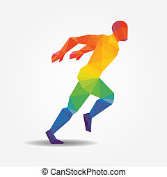 Running geometric concept design colour Illustration vector.