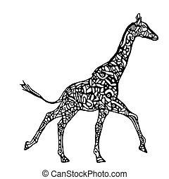 Running giraffe vector