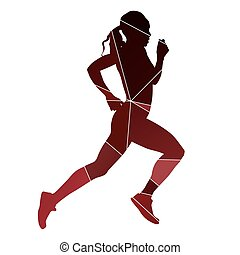 Running girl. Abstract red silhouette