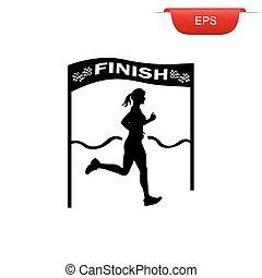 running girl crossing finish line