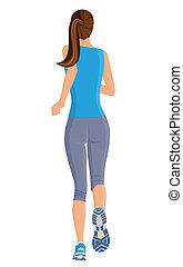 Running girl - Female running full length body of healthy...