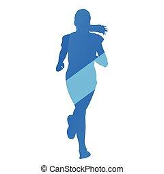 Running girl, run, jog, abstract blue vector silhouette