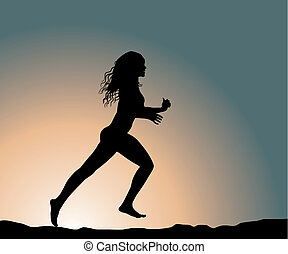 running girl - running fitness girl (vector illustration)