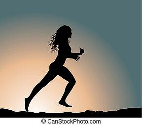 running fitness girl (vector illustration)
