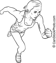 Running girl. The isolated vector graphic.