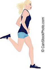 Running girl vector illustration on a white background.