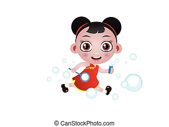 running girl with bubbles