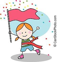 Running girl with winner flag