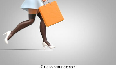 Running Girls with Shopping Bags, Female Legs Close Up, ...