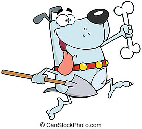 Gray Dog With A Bone And Shovel