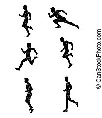 Vector illustration of a running guy silhouettes