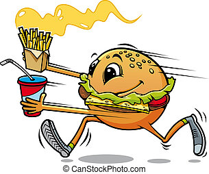 Running hamburger with fresh drink and fried potato for fast...