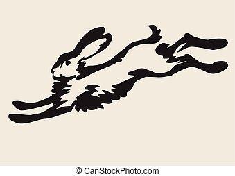 Running hare - vector illustration