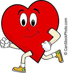 Running heart - Cartoon illustration of a heart running to...