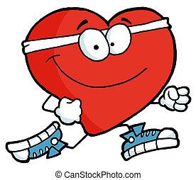 Running Heart  - Healthy Red Heart Running Past