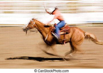 Running Horse - A horse galloping fast with a female rider -...