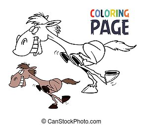 Running horse cartoon coloring page