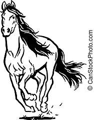 Running horse - Isolated black white running horse