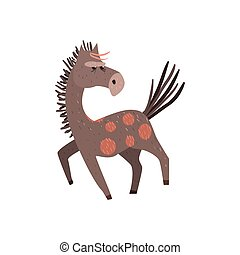 Running Horse Flat Cartoon