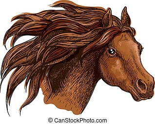 Running horse head close up portrait - Horse head with wavy ...