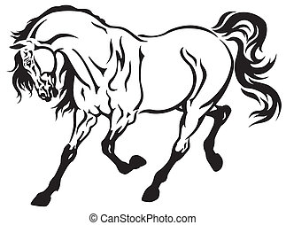 running horse - horse tattoo black and white illustration