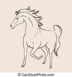 running horse line art drawing. vector