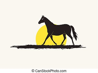 Running Horse Silhouette in Sunset Vector