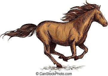 Running horse sketch for equestrian sport design - Brown...